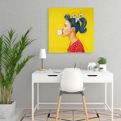 Canvas 24 x 24 - Retro woman with beautiful ponytail