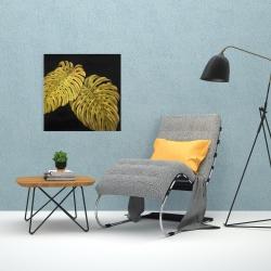Toile 24 x 24 - Feuille monstera doré