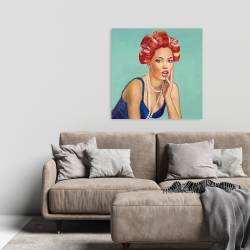 Canvas 24 x 24 - Pin up girl with curlers