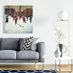 Canvas 24 x 24 - Young hockey players
