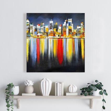 Réflexion colorée d'un paysage urbain de nuit