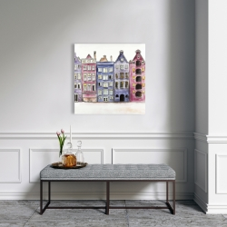 Canvas 24 x 24 - Old historic houses amsterdam