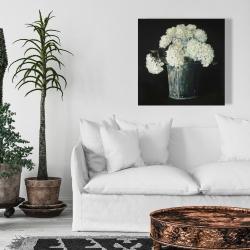Canvas 24 x 24 - White hydrangea flowers