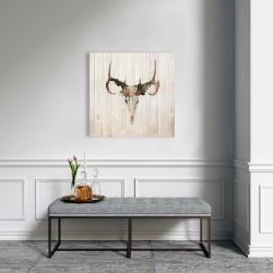 Canvas 24 x 24 - Mule deer skull with roses