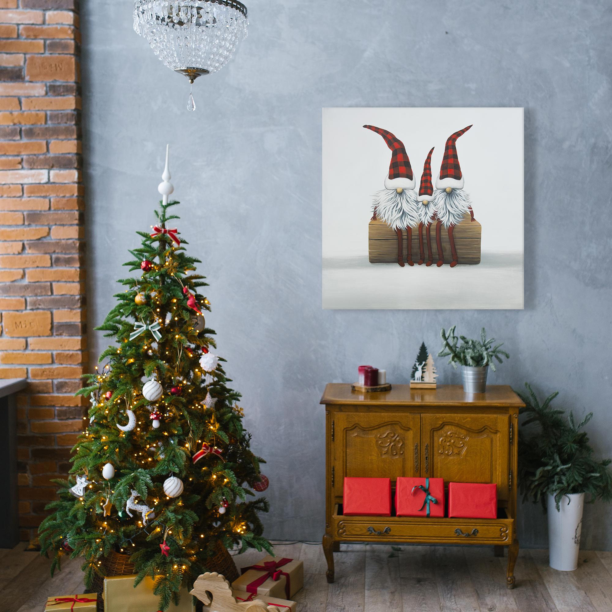 Canvas 24 x 24 - Three christmas gnomes