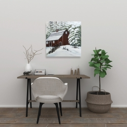 Canvas 24 x 24 - Red barn in snow