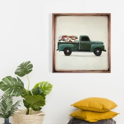 Canvas 24 x 24 - Flowers farm truck