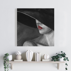 Canvas 24 x 24 - Mysterious woman with a hat