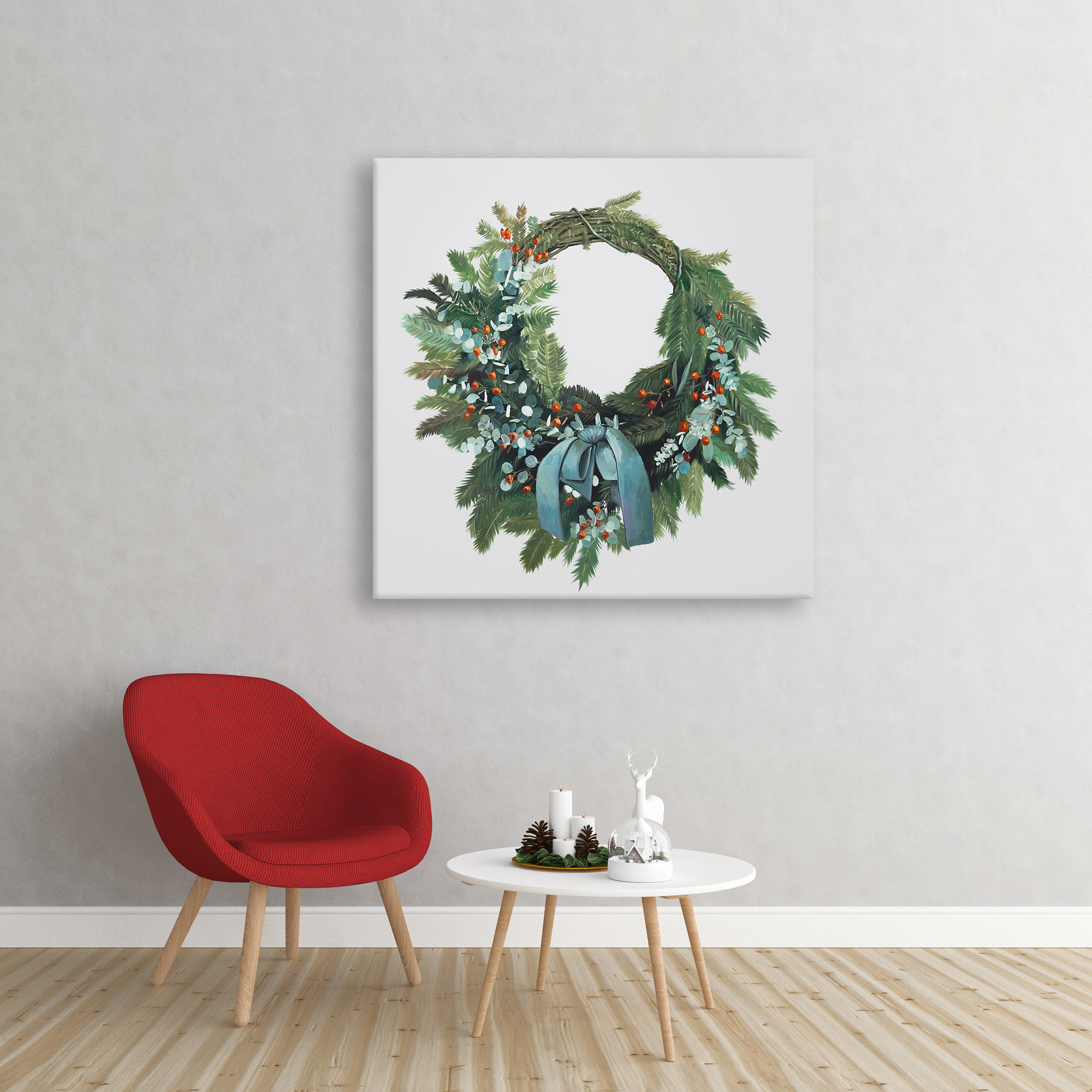 Canvas 24 x 24 - Christmas wreath