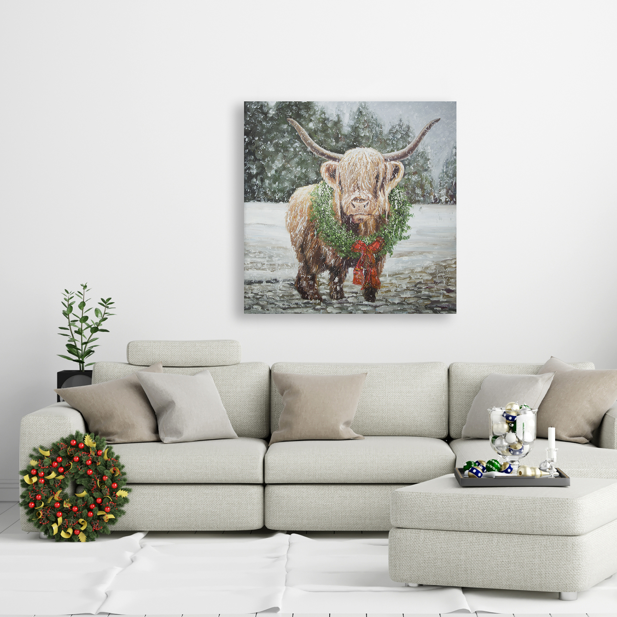 Canvas 24 x 24 - Highland christmas cow