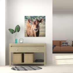 Canvas 24 x 24 - Cute jersey cow