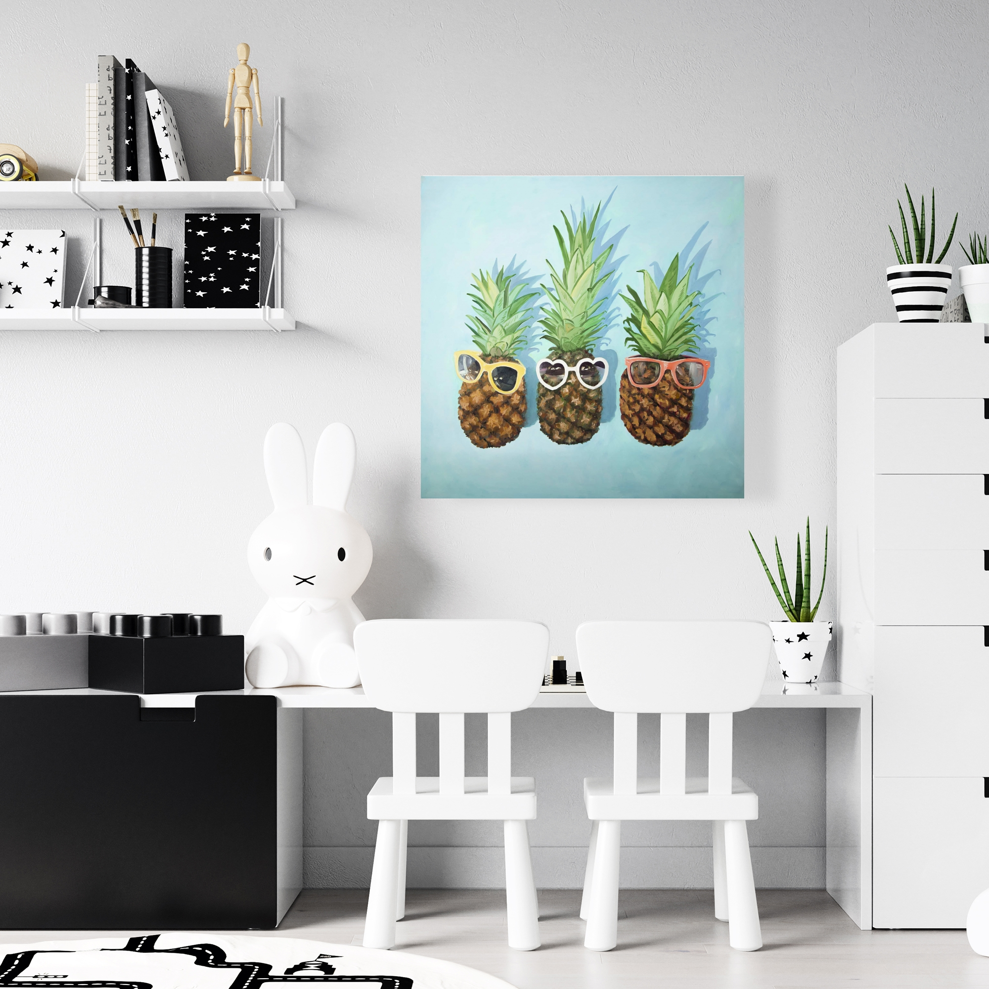 Canvas 24 x 24 - Summer pineapples