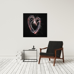 Canvas 24 x 24 - Red & blue fireworks heart