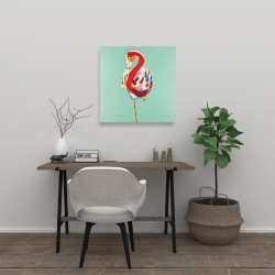 Canvas 24 x 24 - Colorful abstract flamingo