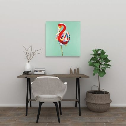 Colorful abstract flamingo