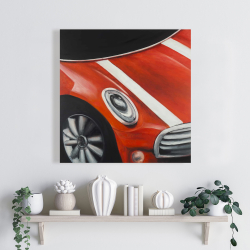 Canvas 24 x 24 - Red car with white stripes closeup
