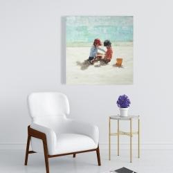 Canvas 24 x 24 - Little girls at the beach