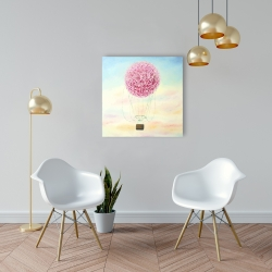 Canvas 24 x 24 - Hot air balloon hydrangea flowers