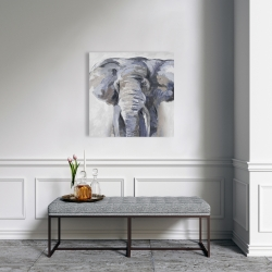 Canvas 24 x 24 - Pastel blue elephant