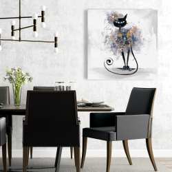 Canvas 24 x 24 - Cartoon black cat
