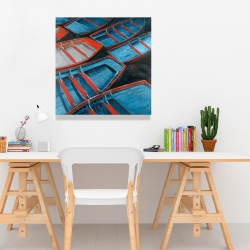 Canvas 24 x 24 - Small blue and red canoes