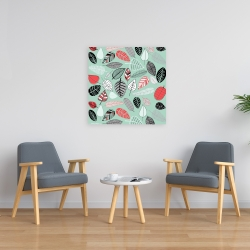 Canvas 24 x 24 - Turquoise leaf patterns