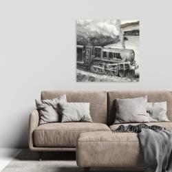 Canvas 24 x 24 - Vintage passenger locomotive