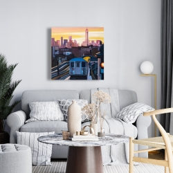 Canvas 24 x 24 - Sunset over the subway in new-york