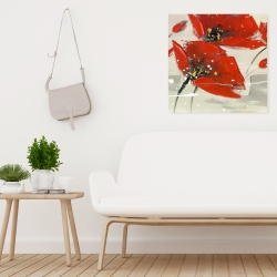 Canvas 24 x 24 - Abstract red flowers in the wind