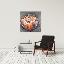 Canvas 24 x 24 - Double and abstract orange tulip