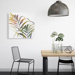 Toile 24 x 24 - Feuilles de palmiers tropicaux à l'aquarelle