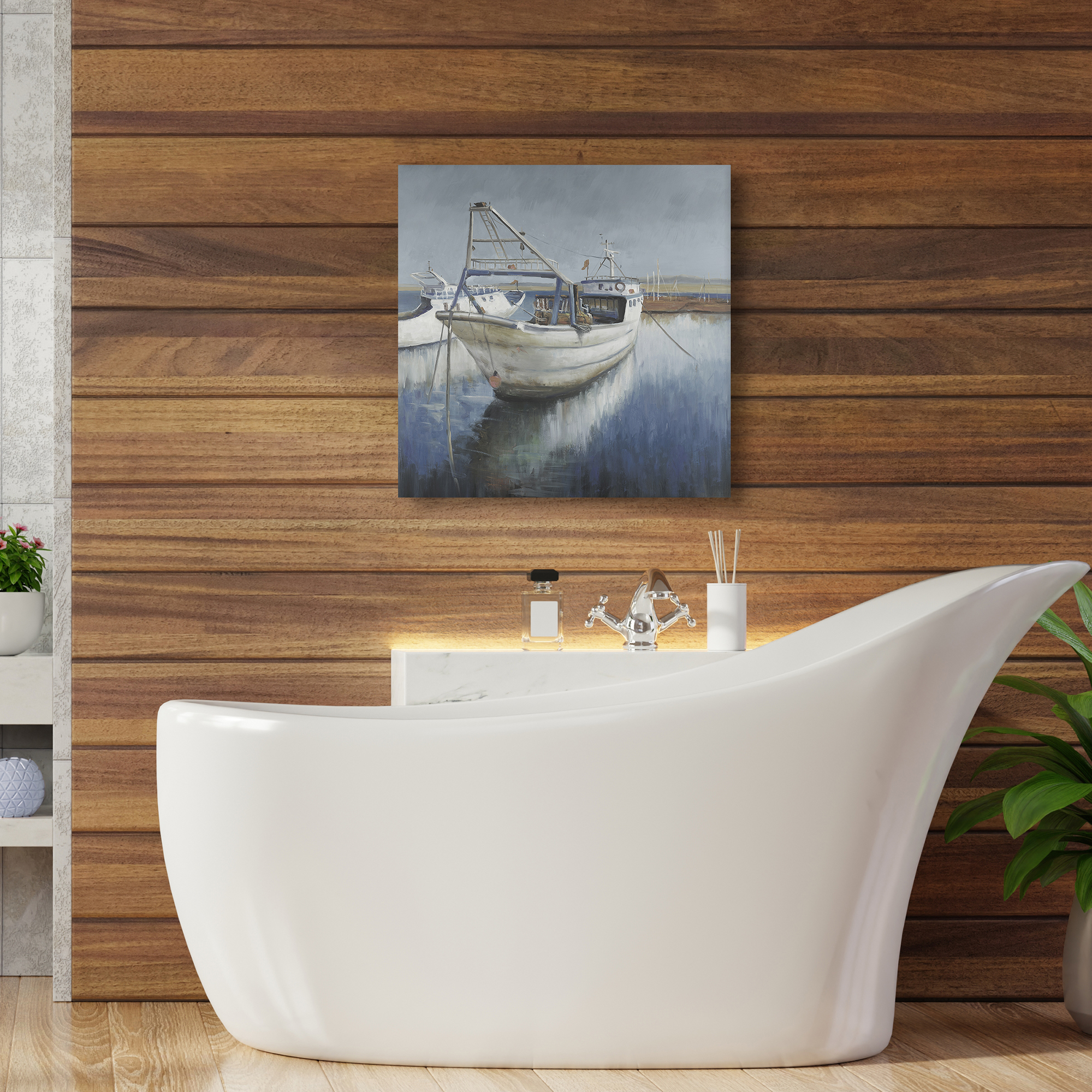Canvas 24 x 24 - Blue fishing boat