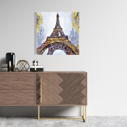 Canvas 24 x 24 - Abstract paint splash eiffel tower