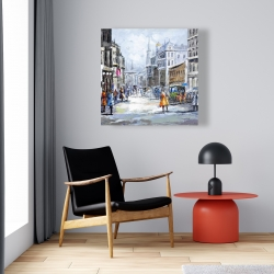 Canvas 24 x 24 - Busy street by a cloudy day