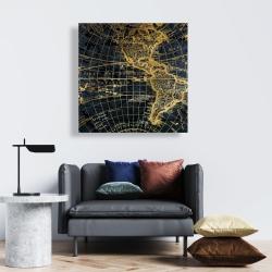 Canvas 24 x 24 - Blue and marine world map globe