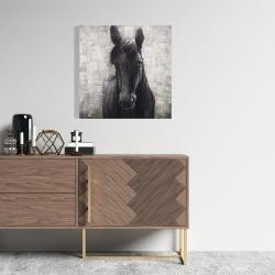 Toile 24 x 24 - Cheval noir