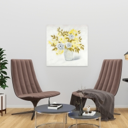 Canvas 24 x 24 - Blue and yellow flowers in a vase