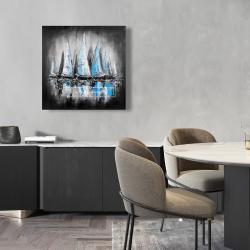 Toile 24 x 24 -  bateaux bleus avec un message manuscrit