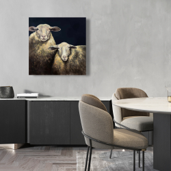 Canvas 24 x 24 - Two sheep blue background