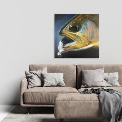 Canvas 24 x 24 - Golden trout with fly fishing flie