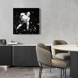 Canvas 24 x 24 - Hockey player ready for action