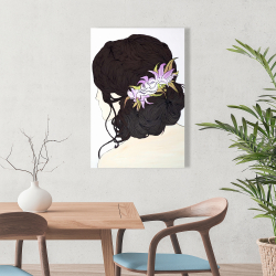 Canvas 24 x 36 - Woman from behind with pink flowers