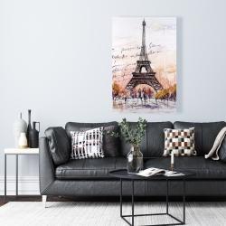 Canvas 24 x 36 - Eiffel tower sketch with an handwritten message