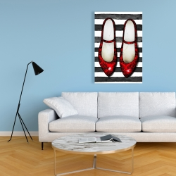 Canvas 24 x 36 - Red glossy shoes on striped background