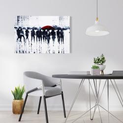 Canvas 24 x 36 - Silhouettes walking in the rain
