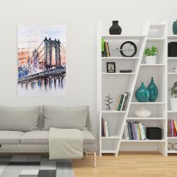 Toile 24 x 36 - Esquisse d'un pont avec message écrit à la main