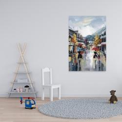 Toile 24 x 36 - Passants dans la rue par une pluvieuse journée d'automne