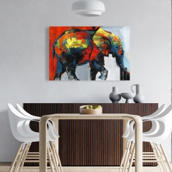 Canvas 24 x 36 - Abstract and colorful elephant in motion