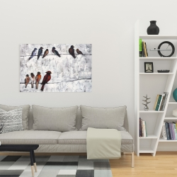 Canvas 24 x 36 - Colorful birds on branches