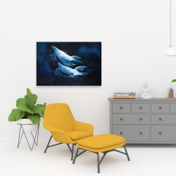 Canvas 24 x 36 - Two swimming dolphins